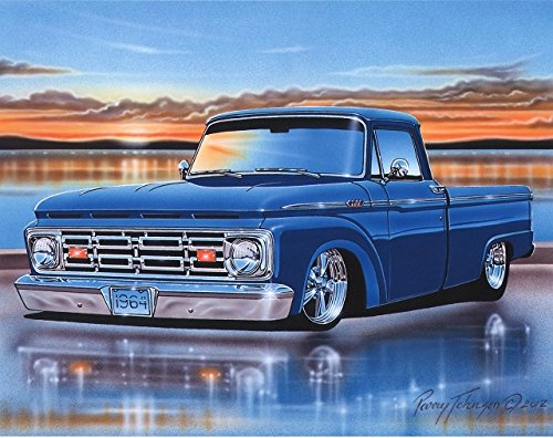 1964 Ford F100 Styleside Pickup Classic Truck Wall Decor Art Print Blue 11x14 (1964 Ford Pickup)