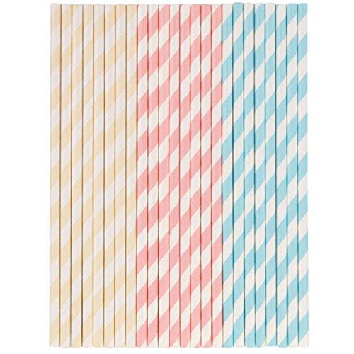 Tala 10A10216 Pastel Paper Straws, Yellow, Pink, Blue, White
