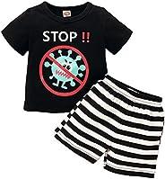 topseller-hzy 2pcs Newborn Baby Boys Girls Clothes Stop Print T-Shirt + Striped Shorts Outfits Set