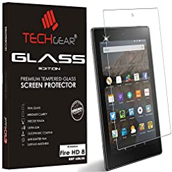 TECHGEAR GLASS Edition fits Amazon Fire HD 8″ Tablet (2015-2018) – Genuine Tempered Glass Screen Protector Guard Cover Compatible with Amazon Fire HD 8 8th 7th 6th 5th Genearations ONLY