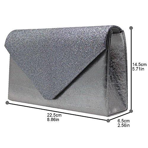 Wocharm Sparkle Bag Party Wedding Stylish Handbags Evening Women Grey Glitter Clutch Bag Hand Girly rUIrPR