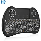 2.4GHz Backlit Mini Wireless Touchpad Keyboard with Mouse, Multifunction remote USB Rechargeable Combo For PC/Pad/Xbox 360/PS3/Android TV Box/HTPC/IPTV [Upgraded 2018] (Backlit)