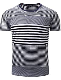Mens Tops Men Striping Casual Button Letter Pullover Short Sleeve T-Shirt Top Blouse