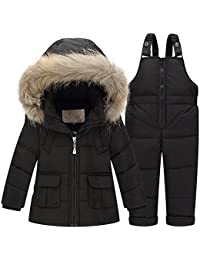 Baby Boys Girls'Snowsuit Winter Puffer Down Coat Two-piece Set with Hooded Fur Trim