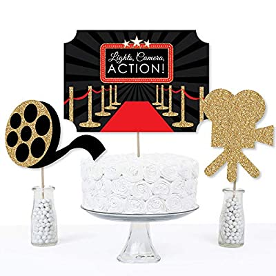 Big Dot of Happiness Red Carpet Hollywood - Movie Night Party Centerpiece Sticks - Table Toppers - Set of 15: Toys & Games