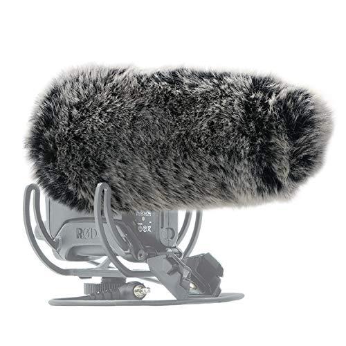 SUNMON Microphone Furry Windscreen, Dead Cat Wind Muff Mic Windshield Fur Foam Cover as Pop Filter Compatible with Rode VideoMic Pro+ Plus Camera Microphone ()