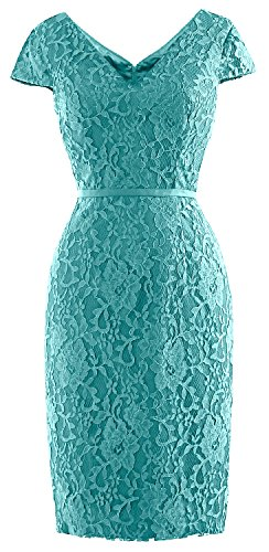 Dress Turquoise Short Lace MACloth Cap of Women Vintage Wedding Bride Party Sleeve Mother 6wq7z
