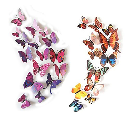 24 Pack 3D Butterfly Refrigerator Magnets, Fridge
