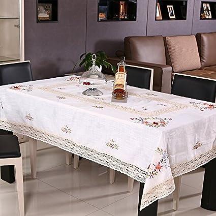 BLUELSS Nueva y Elegante Mantel de Ganchillo artesanales Cinta Cubierta de Mantel de Lino Bordado Ganchillo