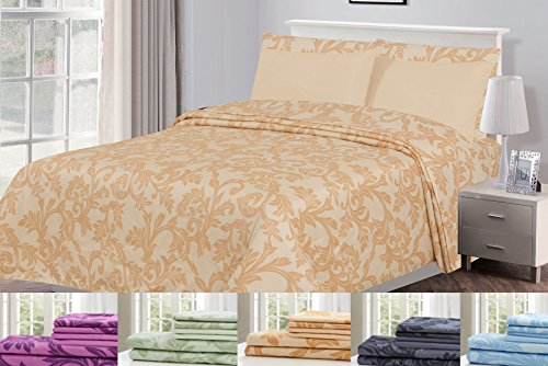 6 Piece: HOTEL LUXURY Kendall Printed Bed Sheet Set, Platinum Extra Soft and Comfortable, Deep Pocket, Brushed Microfiber 1800 Bedding - Wrinkle, Fade, Stain Resistant - Hypoallergenic (King, Taupe)