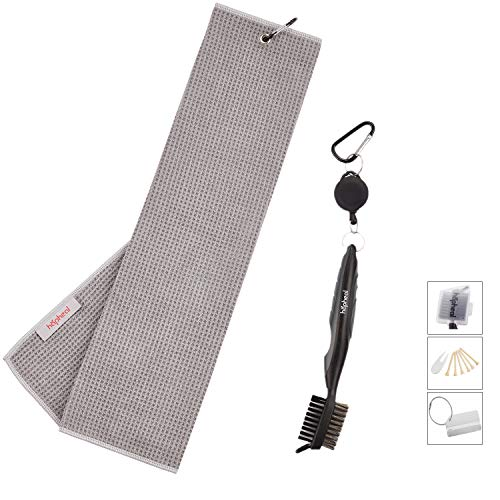 Microfiber Waffle Pattern Golf Towel with Brush Tool Kit,Golf Bag Tag,2 Ball Marker,6 Bamboo Tees (Gray Towel+Gray Brush) - Golf Bag Kit