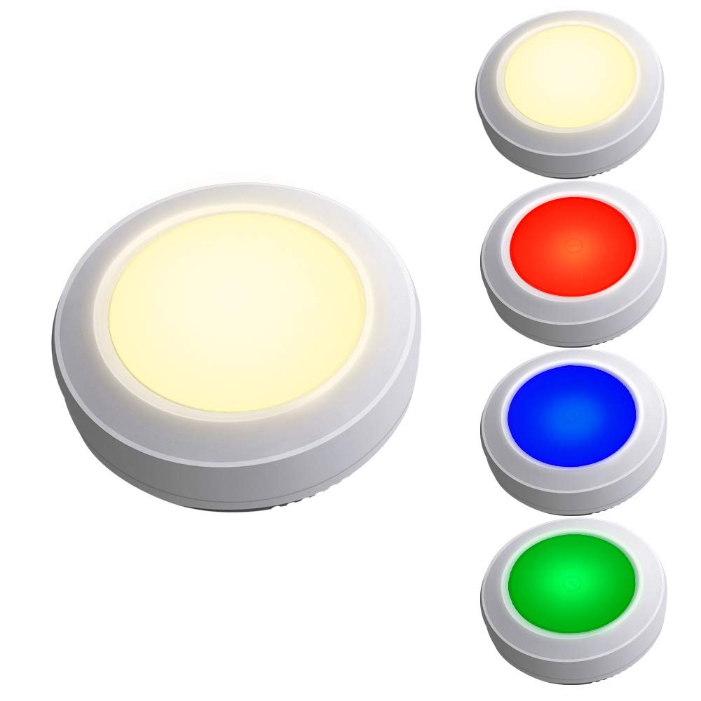 HONWELL Tap Light Wireless Touch Light with 4 Color Changing Button Night Lights Dimmable Battery Powered RGB Puck Lights Stick on Closet Shelf Shop Nursery Classroom Light (5Pack Push Light)