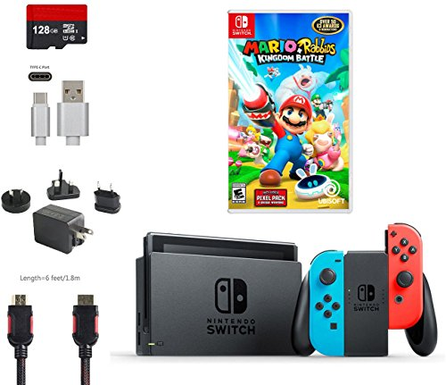 Nintendo Switch Bundle  6 Items   32Gb Console Gray Joy Con  128Gb Micro Sd  Joy Con  L R  Neon Red Neon Blue  Game Disc Mario   Rabbids Kingdom Battle  Type C Cable  Wall Charger