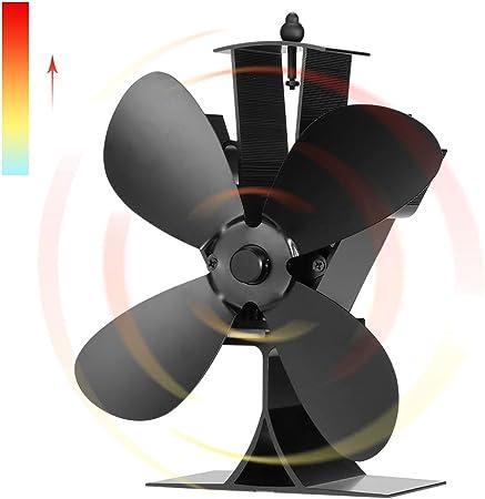 Ventilateur de po/êle /à 4 lames aliment/é /à la chaleur en bois chemin/ée augmente 80/% plus dair chaud que 2 lames po/êle /à bois