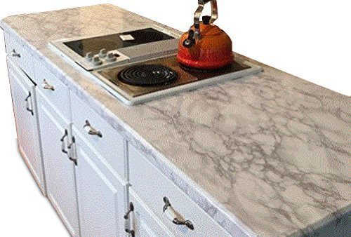 Countertop Transformation Marble White Grey Faux Marble Film 3' W x 6'L Why Paint. Just Peel and Stick. - Laminate Stick