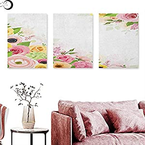 J Chief Sky Anemone Flower Wall hangings Roses Ranunculus and Hydrangea Flowers and Green Leaves Frame Wall Panel Art Pale Pink Yellow Green 111