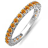 DazzlingRock Collection 14K White Gold Round Orange Citrine Eternity Sizeable Stackable Ring Anniversary Wedding Band