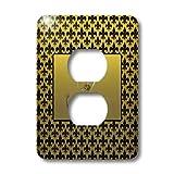 3dRose lsp_36089_6 Elegant Letter K Embossed In Gold Frame Over A Black Fleur-De-Lis Pattern On A Gold Background 2 Plug Outlet Cover