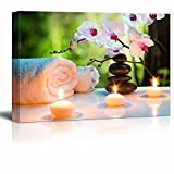 wall26 Canvas Prints Wall Art - Romantic Candles and Blooming Cherry Blossoms in a Spa Setting- 16'' x 24''