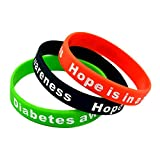Mammoth Sales Hope Is In A Cure Diabetic Diabetes Silicone Bracelet Wristbands - Set of 4