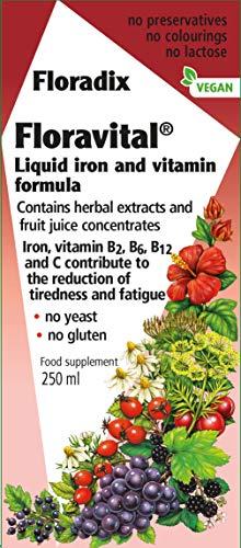 - Floravital Liquid Iron Supplement + Herbs 8.5 Ounce - Yeast & Gluten Free - Non Constipating