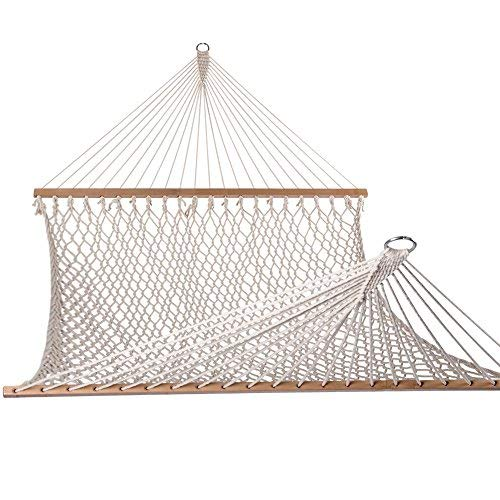 Lazy Daze Hammocks Cotton Rope Double Hammock with Wood Spreader, Chains and Hooks, for Two Person, 450 Pounds Capacity, Natural Cotton Naturals Full Seat