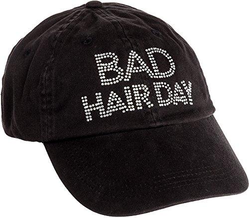 - Womens Crystal Bad Hair Day Adjustable Baseball Cap Rhinestone Bling Hat (Black)