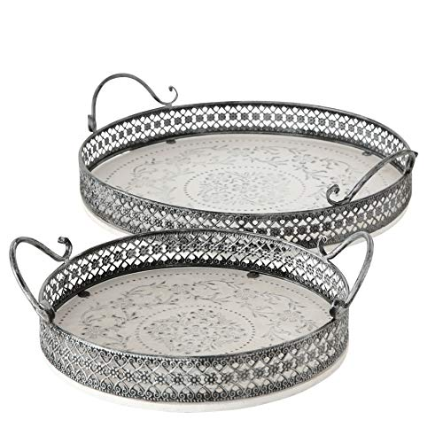 WHW Whole House Worlds Stockbridge Round Trays, Set of 2, Stenciled Floral Roundels, Rustic White with Gray Accents, Detailed Vintage Style Metal Work Rims, 14 1/2 and 11 Inches Diameter (Candle Tray Round)