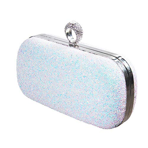 Glitter Evening Handbag, Sparkling Party Clutch, Bling Wedding Purse with Ring Crystal Rhinestone, Detachable Thin Chain Strap (A2 - White Evening Bag)