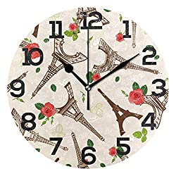 Dozili Vintage Rose Paris Eiffer Tower Round Wall Clock Arabic Numerals Design Non Ticking Wall Clock Large for Bedrooms,Living Room,Bathroom