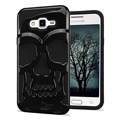Samsung Galaxy J7 2015 Case, Skull Hybrid, Polycarbonate and Silicone TPU Hard Cover with Screen Protector and Stylus - Black