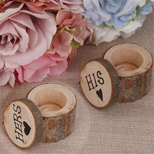 LingStar Wooden Printed His Hers Love Heart Rustic Wedding Ring Bearer Double Boxes