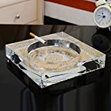 Home Ashtray Crystal Glass Cigarettes Windproof Living Room Coffee Table Multi-function Indoor And Outdoor Ashtray (transparent Color) ( Size : 25CM )