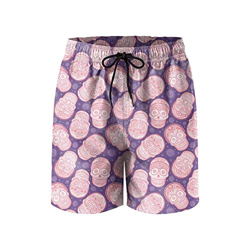 COVASA Patterned Purple Pink loungefly Skeletons Makeup Design Quick Dry Mens Guys Swimming Trunks Short, -