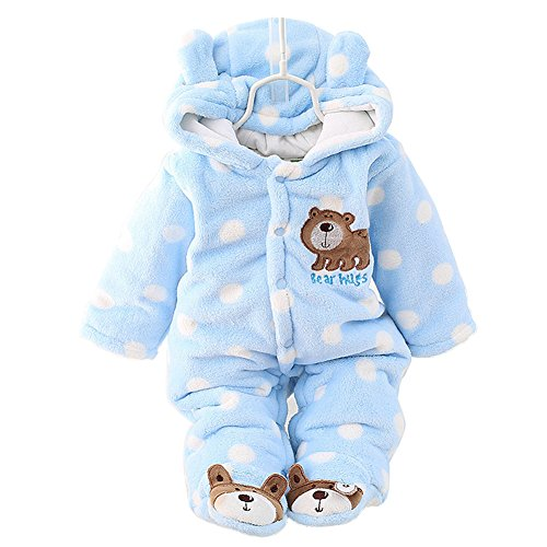 SONGGUIYING Newborn Baby Boy Clothing Fleece Winter Girl Romper Cartoon Infant Babies Clothes Bear Snowsuit Pink Blue Jumpsuits (0-3 Months, Blue)