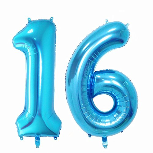 KIYOOMY Large Number 16 Balloons Blue Jumbo Foil Mylar Number balloons For Sweet 16 Birthday Party Decorations