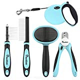 Pawaboo Pet Grooming Tools Kit - 5 Pieces Professional Dog Grooming Kit Comb Suit Pin Comb - Nail Clipper - Slicker Brush - Dematting Comb and Retractable Dog Leash for Pet Dogs Puppies - Light Blue