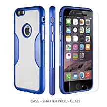 iPhone 6 Case, Blue White With [Tempered Glass Screen = Best LCD Protector] [Patented Lens Hood = Better Pictures] - Slim iPhone 6 Case Night Sky Blue by Sahara Case