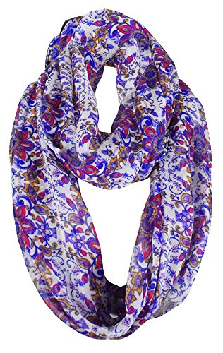 Peach Couture Exclusive Vintage Floral Prints Infinity Loop Scarves Light Scarf Purple Sheer