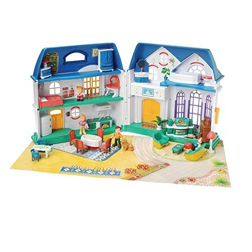 CP Toys Happy Home Take-Along Plastic Doll House with 26 pc Furniture Set and 4 Articulated Figures
