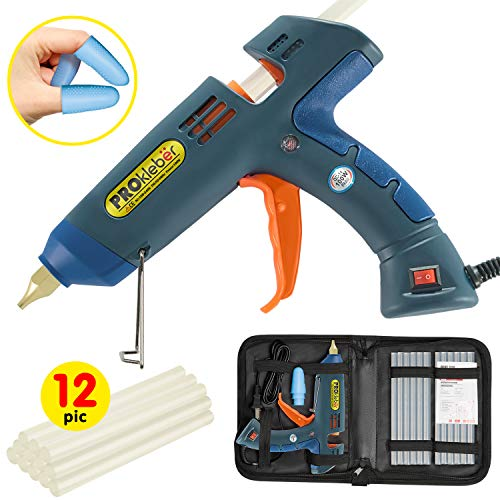 Hot Melt Glue Gun Kit 100 Watt with Carry Bag and 12 pcs Glue Sticks, for DIY, Arts & Crafts Projects, Sealing and Quick Repairs, Light and Heavy Duty in Home and Office by PROkleber (Hot Melt Glue Gun)