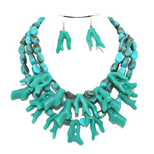 (Affordable Wedding Jewelry Simple Statement Chunky Turquoise Branch Coral Cluster Necklace Earring Set Reef Beach Vibe)