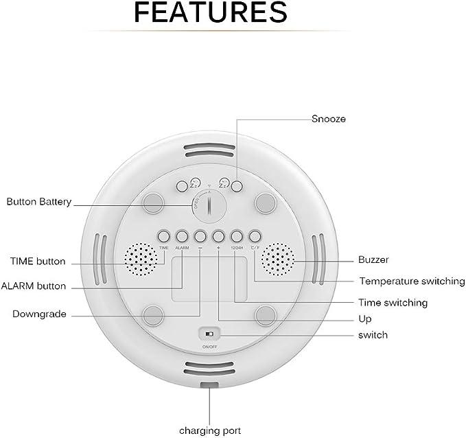 6 Suoni Ricarica USB ALLOMN Sveglia umidit/à Temperatura Funzione Snooze Tempo Simulazione Sunrise Dimmerabile 7 Colori RGB Orologio Risveglio Radio Comodino Luce Notturna Controllo Gesto