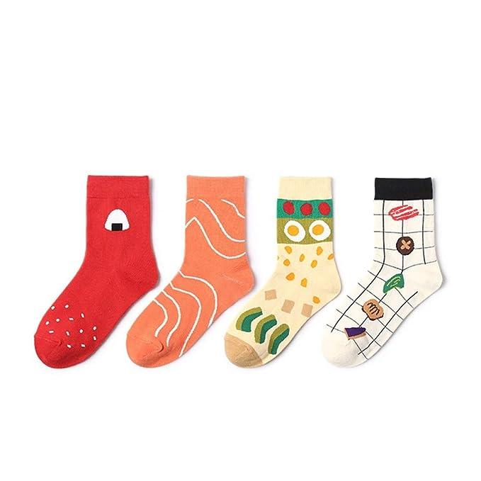 Hyf Socks 4 Pares De Calcetines De Las Mujeres Harajuku Kawaii Dulces Calcetines Lindos Streetwear Sushi Calcetines Divertidos Mujeres Japonesas Moda ...