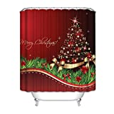 HGOD Designs Christmas Theme Decor for Bathroom, Merry Christmas Shining Santa Tree Red Background Water Repellant Polyester Shower Curtain 60 72 Inches