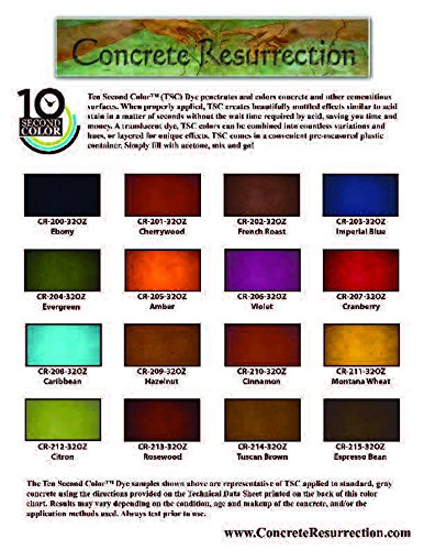 Concrete Acid Stain - 16 Color Sample Pack - Professional Fast Drying Concrete Stain - Easy to use! Ten Second Color Acetone Dye Concrete Stain