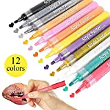 #2: Acrylic Paint Pens Markers Pens for Rocks Painting, Ceramic, Glass, Wood, Fabric, Canvas, Mugs, DIY Craft Environmental Friendly Water-Based Medium Point Tip Art Permanent 12 Colors