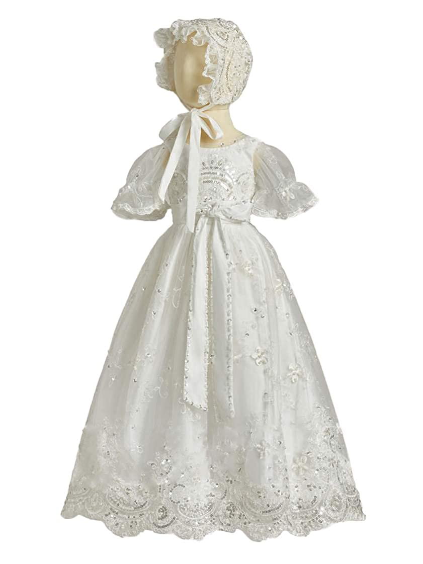 Faithclover Christening Baptism Dresses for Girls Long Sequins Lace Formal Gowns with Bonnet