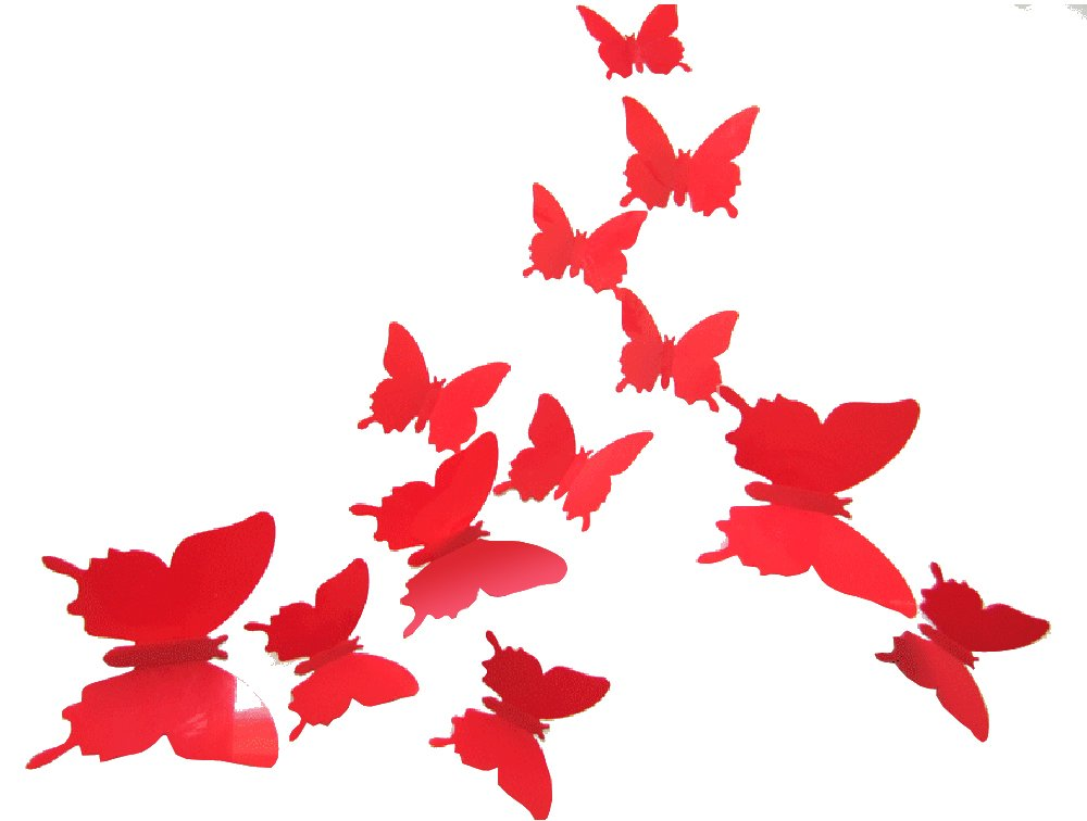 CuteProduct 12Pcs 3d Butterfly Removable Wall Decals Diy Home Decorations Art Decor Wall Stickers Murals for Babys Kids Bedroom Living Room Classroom Office(Color Red)