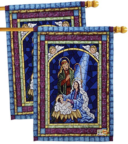 Breeze Decor HP114123-P3AE Stained Glass Nativity Winter Impressions Decorative Vertical 28
